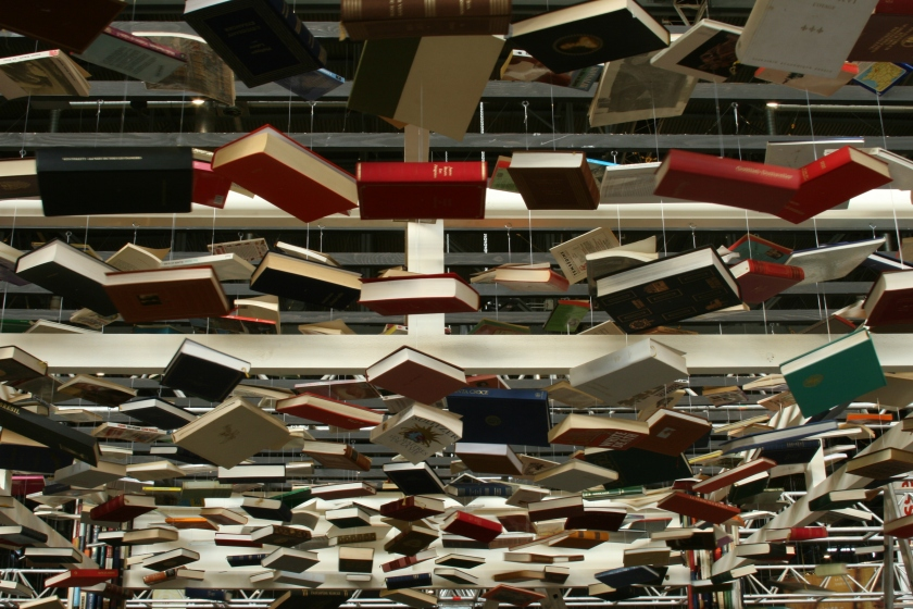 """The """"ceiling"""" of the booth is made out of suspended and regularly spaced books. -- Photography project about my friend Jan's last creation: a booth made out of books for the Geneva Book Fair. Commissioned by the library """"Le Pied du Jura"""" in Romainmôtier."""